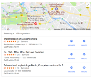 Google My Business Optimierung - Implantate Berlin