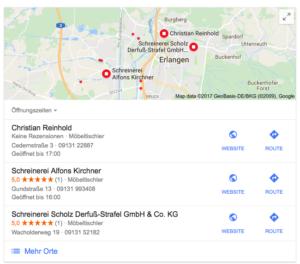 Schreinerei Erlangen - Google My Business